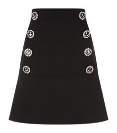 DOLCE & GABBANA Embellished Button Wool Skirt. #dolcegabbana #cloth #