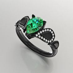 Gorman Designs 14K Black Gold 1.0 Ct Pear Emerald by GormanDesigns