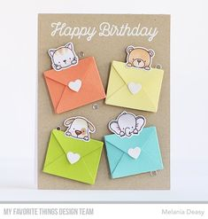"""29 Likes, 3 Comments - Melania Deasy (@melaniadeasy) on Instagram: """"Fun Birthday card for @mftstamps June Card Kit Countdown Day 1! Sending Birthday Wishes Card Kit is…"""""""