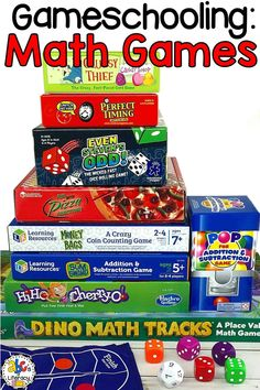 Whether your child is having a difficult time learning a math concept or you're just looking to add more fun to your homeschool day, playing games can be entertaining and educational. From addition to fractions, these Math Games For Kids will help your gameschoolers practice a variety of skills that they need to learn and know. These games will also help your kids develop their fine motor skills, visual discrimination, and much more. #gameschooling #mathgames #gameschoolers #homeschool