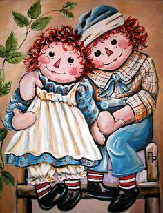 Raggedy Ann & Andy painting - acrylics on canvas.