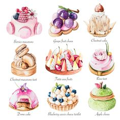 Enya is a UK based food illustrator and graphic designer who specialise in a varity of food, patisserie and florals as well as creating stunning logo designs for cake businesses. Arte Copic, Cake Roses, Desserts Drawing, Dessert Illustration, Food Sketch, Pastry Art, Choux Pastry, Pastry Shop, Watercolor Food