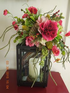 Burgundy and Greens Floral Lantern Swag by 4Seasonsflorals on Etsy