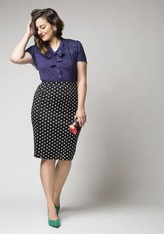 Mix patterns like a pro with this easy and chic outfit idea! Featured in this outfit: Impromptu and Posh Heel, Style Essential Skirt in Dots - Plus Size, Everything's Beautiful Top in Navy, Everything's Beautiful Top in Crimson (similar), Dapper and You Know It Bag (similar), Brilliant Blossoms Earrings #workwear #plus #plussize #polkadots #pencilskirt #blouse #chic