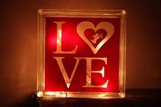 Valentines Day Glass Block ~~ LOVE the little cupid in the heart!!