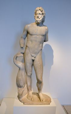This Roman statue of Poseidon/Neptune alongside a dolphin dates to the first century. Tampa Museum of Art