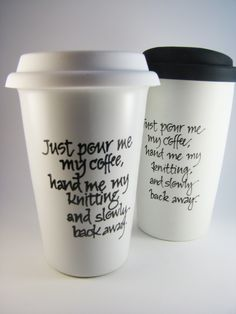 Travel Mug for Knitters: Coffee Warning.
