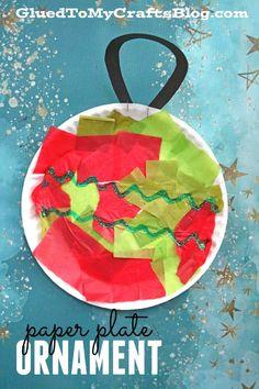 Paper Plate Ornament - Christmas Kid Craft Idea
