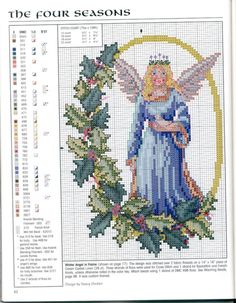 Angels of the Seasons: Winter Angel by Nancy Dockter, Christmas Remembered Bk Angels Remembered Cross Patterns, Modern Cross Stitch Patterns, Counted Cross Stitch Patterns, Cross Stitch Charts, Cross Stitch Embroidery, Stitch And Angel, Cross Stitch Angels, Just Cross Stitch, Christmas Cross