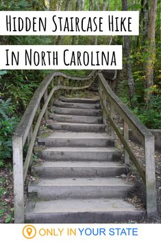 If you are up for an amazing surprise, hike to the top of this secret staircase in North Carolina. A gorgeous waterfall awaits, and you should absolutely see it in person. North Carolina Hiking, North Carolina Waterfalls, North Carolina Vacations, North Carolina Mountains, Carolina Mountain Vacations, Banner Elk North Carolina, Bryson City North Carolina, Cherokee North Carolina, Charlotte North Carolina