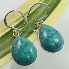 925 Solid Sterling Silver TURQUOISE (S) Pear Gemstones Hot Fashion Earrings NEW #SunriseJewellers #DropDangle