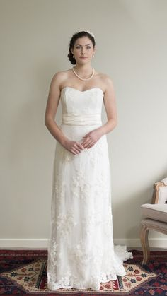 Sequin & Pearl Lace Strapless Dress by Sophie Voon Bridal  Sophie Voon wedding dresses lovingly designed and crafted in our Wellington, New Zealand workroom.