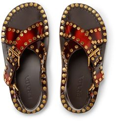 PRADA Studded Spazzolato Leather Sandals