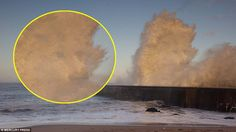 Standing out in the surf: The face of a dog appears in this image taken of the North Sea c...