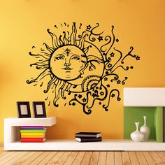Wall Decal Vinyl Sticker Decals Art Home Decor Design Murals Sun Moon Crescent Stars Night Symbol Sunshine Fashion Bedroom kid's room FS#103 by foreverstudio on Etsy https://www.etsy.com/listing/217863325/wall-decal-vinyl-sticker-decals-art-home