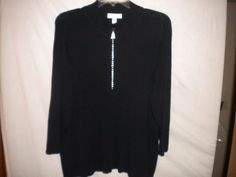 Dressbarn Plus Size 18/20 Embellished 1/2 Zip Black 3/4 Sleeve Womens Sweater #Dressbarn #12Zip #Versatile