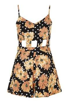 0cf71bf1492a TopShop Floral Cut-Out Playsuit (155 BRL) ❤ liked on Polyvore featuring  jumpsuits