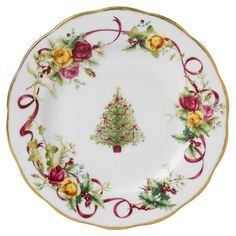 Royal Albert Old Country Roses Christmas Tree Fine Bone China Salad Plate 8""