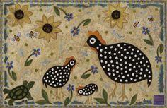 Kathy Cooper Art Floor Mats Guinea Hens and Sunflowers Design good idea for hooked rug