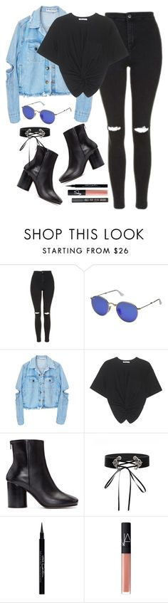 """""""Başlıksız #1385"""" by zeynep-yagmur ❤ liked on Polyvore featuring Topshop, Ray-Ban, T By Alexander Wang, Maison Margiela, Givenchy and NARS Cosmetics"""