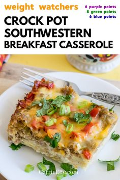 This Weight Watchers Crock Pot Southwestern Casserole is an esy-to-make brunch recipe! It also freezes well and makes for great leftovers. Healthy Recipes For Weight Loss, Healthy Crockpot Recipes, Clean Eating Recipes, Cooking Recipes, Healthy Food, Crockpot Breakfast Casserole, Casserole Recipes, Weight Watchers Breakfast, Brunch Recipes