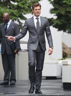Jamie Dornan smoulders in a suit as he joins Dakota Johnson back on Fifty Shades of Grey set - Irish Mirror Online http://www.pinterest.com/lilyslibrary/