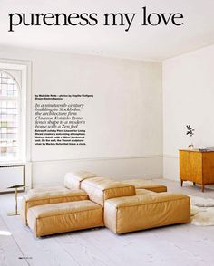 in the news Elle Decor Extrasoft by Piero Lissoni for Living Divani, shown in waxed leather.