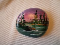 Crystal Pinecone: Hand Painted Rock
