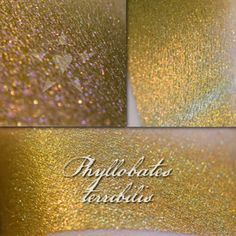 Phyllobates Terribilis eyeshadow from Aromaleigh's Fatalis collection.  I had 4 from this collection and liked them so much I went back to try more & this is one of them.  Gold, but it works for me because it also has a pink shift.  Two thumbs up.
