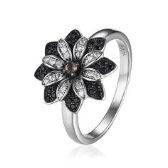 $17.54 JewelryPalace Flower Natural Taupe Smoky Quartz Black Spinel Cocktail Ring 925 Sterling Silver New Trendy Fine