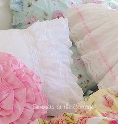 White layers of lace and crochet ruffles to create a pillow sham with so much vintage chic appeal for your bed or favorite white wicker settee chair or overstuffed sofa. Shabby Chic Bedroom Furniture, Cottage Furniture, Chic Bedding, Ruffle Pillow, Pillow Shams, Lace Pillows, Crochet Pillow, Throw Pillows, Shabby Chic Pink