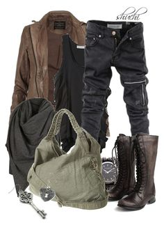 """Post-Apocalypse"" by shuchiu ❤ liked on Polyvore featuring AllSaints, Preen, Eurø Style, Sara Designs, Miz Mooz, denim, brown, brownboots and shawl"