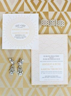 Such pretty art deco patterns on this gold and white wedding invitation set #wedding #artdeco #gatsby #gold #invitation