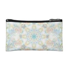 Pastel Flower Mandala Cosmetic Bag #mandala #pastel #flower #colorful #abstract #oudeen #pink #green #blue #white #pattern #zazzle #art #trendy #design #graphic #graphicdesign #dreamy
