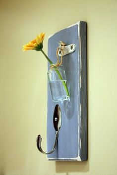Upcycled Wall Hanging with Bud Vase and Hook by AuntPeachy on Etsy, $28.00