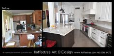Before & After photo of cream and brown kitchen reno