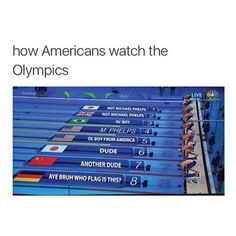 Americans watching the Olympics... Kinda sorta true! I looked up a lot of flags this year.