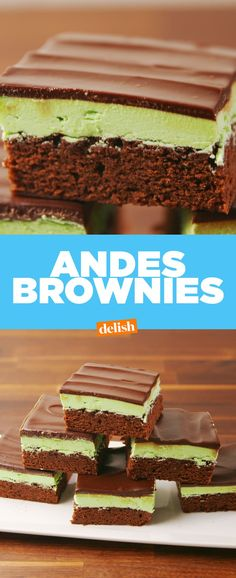 Andes Brownies by Delish Brownie Recipes, Cookie Recipes, Dessert Recipes, Party Recipes, Dessert Ideas, Holiday Recipes, Great Desserts, Delicious Desserts, Yummy Treats