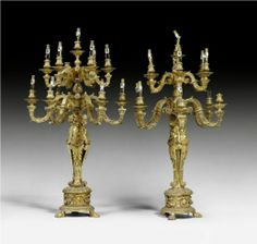 A large pair of gilt bronze twelve light candelabra. French, late 19th Century