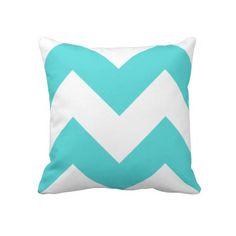 Teal and White Zig Zag Pillow #teal #white #retro #zigzag #pillow #home #decor