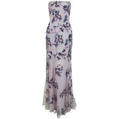 1990's Giorigo Armani Beaded Lavender Floral Strapless Cut-Out Back Formal Gown | From a collection of rare vintage evening dresses and gowns at https://www.1stdibs.com/fashion/clothing/evening-dresses/