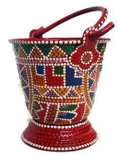 Hand Painted small bucket can be used in your bathroom, kitchen or as planter for your herbs