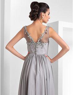 82808491f   109.99  Linha A Ilusão Decote Longo Chiffon   Tule Evento Formal Vestido  com Apliques de TS Couture®