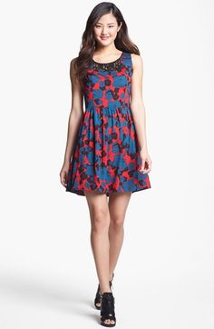 Kensie Lace Inset Floral Print Dress available at #Nordstrom