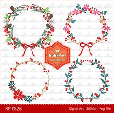 Instant Downloads Christmas Floral Wreath Clipart For by BaBaPuff