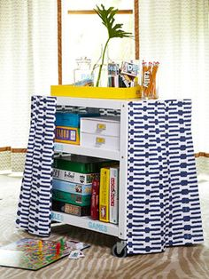 Great for all the games...easy to get to and organized...and cute! Game cart needs to be in my house. :) Board Game Organization, Office Organization, Mobiles, Metal Cart, Indoor Recess, Clear Plastic Containers, Game Storage, Storage Ideas, Mobile Storage