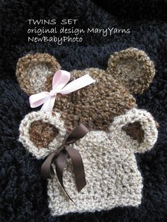 TWINS Teddy Bear HAT in  Brown Creamy Baby Photo prop by MaryYarns, $44.00