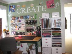 Incredibly organized craft room.