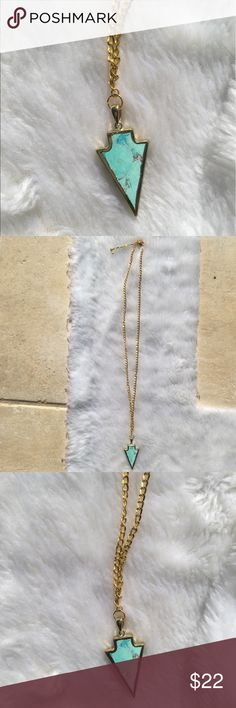 """Black Friday•Blue Marble Arrow Chain Necklace Beautiful Baby Blue Marble Arrow Chain Necklace ✨💎 *Measures 28""""+ 3.5"""" Gold Adjustable Chain Length & Lobster Clasps. Handmade in Los Angeles☀️ Maneka Monette Jewelry Necklaces"""