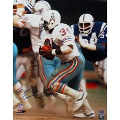 Earl Campbell Houston Oilers Running White Jersey 16x20 Photo w/ 'HOF' Insc